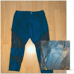 Pants - Teen workout casual teal/green leggings with mesh